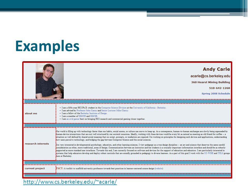 Examples http://www.cs.berkeley.edu/~acarle/