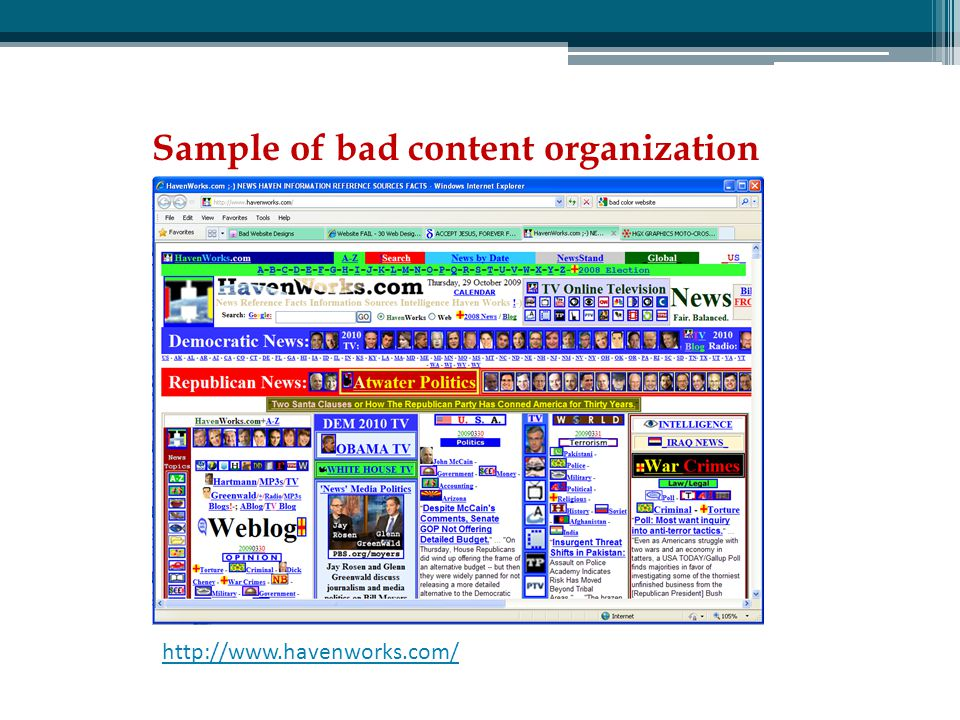 Sample of bad content organization http://www.havenworks.com/