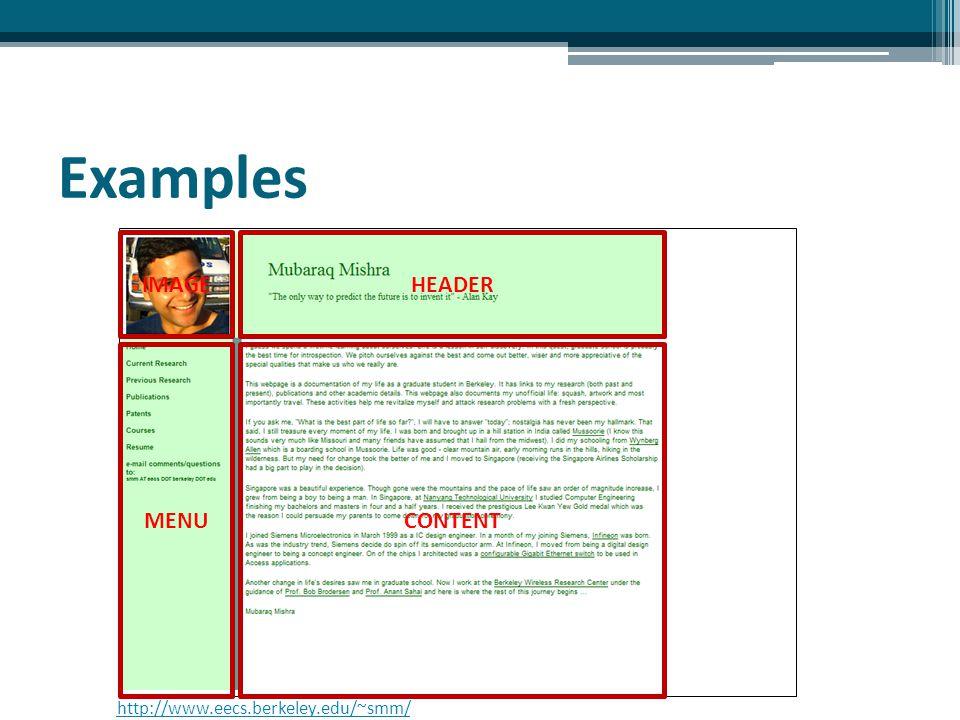 Using menu for easy navigating http://www.cs.colorado.edu/~hughesal/