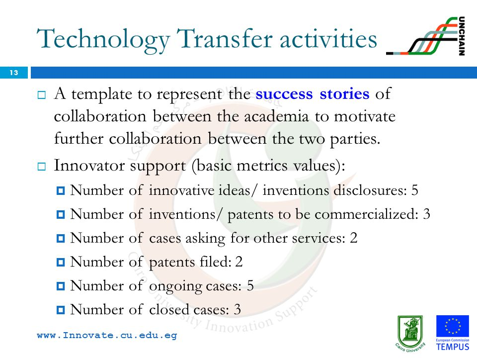 Technology Transfer activities 13  A template to represent the success stories of collaboration between the academia to motivate further collaboratio