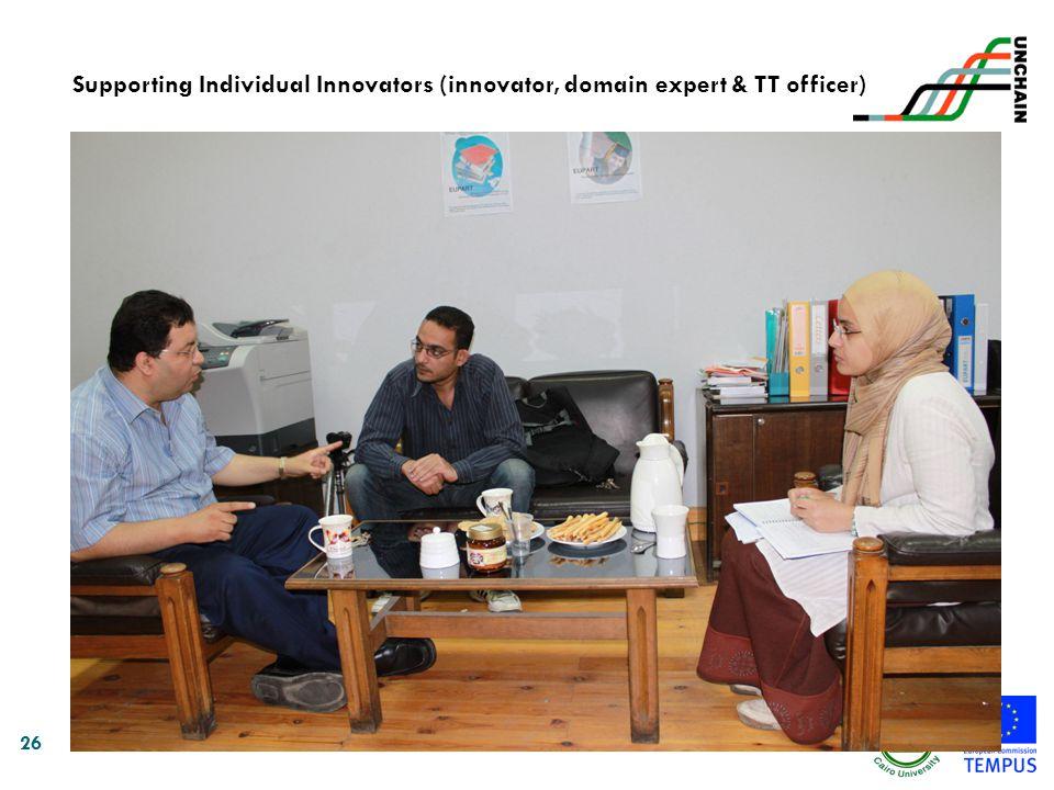 26 Supporting Individual Innovators (innovator, domain expert & TT officer)