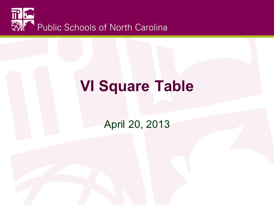VI Square Table April 20, 2013
