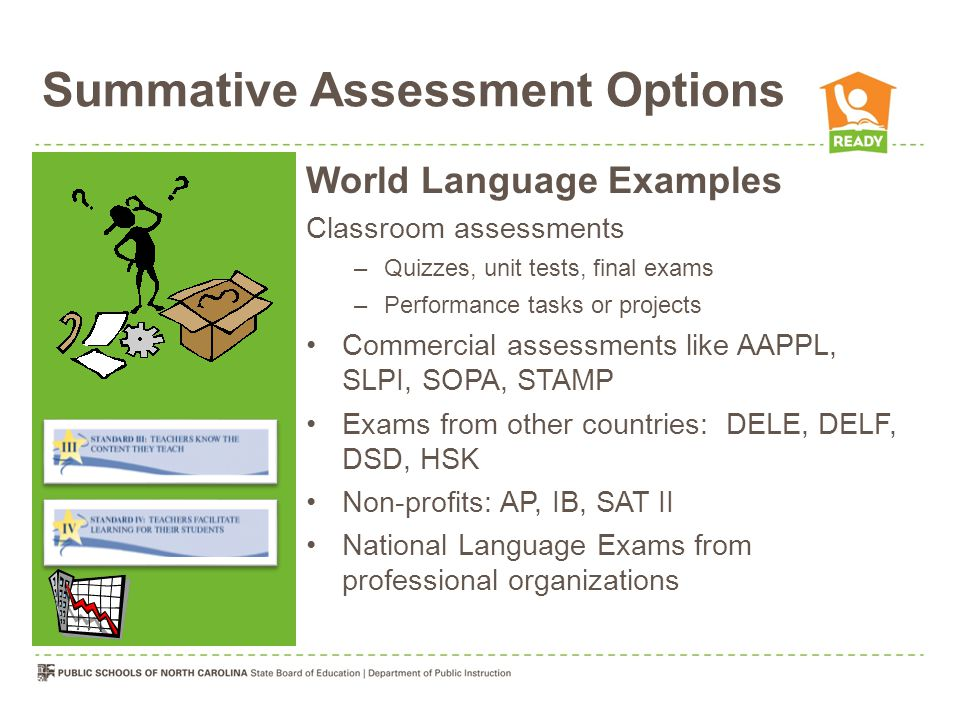 Summative Assessment Options World Language Examples Classroom assessments –Quizzes, unit tests, final exams –Performance tasks or projects Commercial assessments like AAPPL, SLPI, SOPA, STAMP Exams from other countries: DELE, DELF, DSD, HSK Non-profits: AP, IB, SAT II National Language Exams from professional organizations