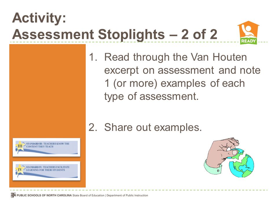 Activity: Assessment Stoplights – 2 of 2 1.Read through the Van Houten excerpt on assessment and note 1 (or more) examples of each type of assessment.