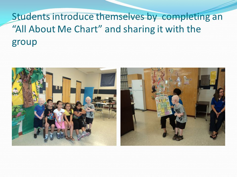 "Students introduce themselves by completing an ""All About Me Chart"" and sharing it with the group"