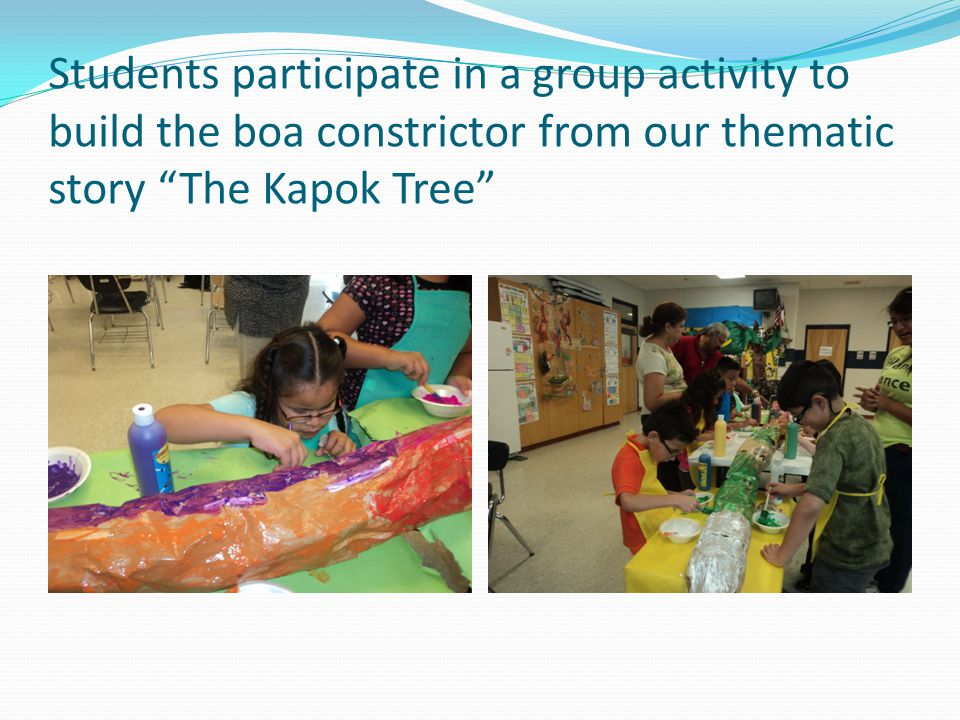 "Students participate in a group activity to build the boa constrictor from our thematic story ""The Kapok Tree"""