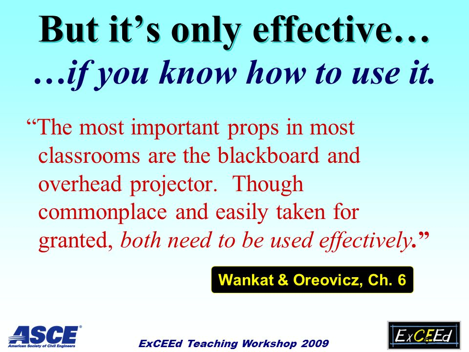 ExCEEd Teaching Workshop 2009 5 Why is the Chalkboard Effective? u Self-pacing u Information remains visible and can be used later in the class u Allo