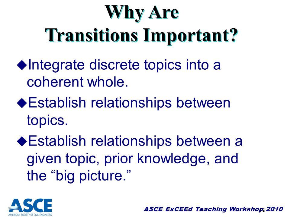 19 u Integrate discrete topics into a coherent whole. u Establish relationships between topics. u Establish relationships between a given topic, prior