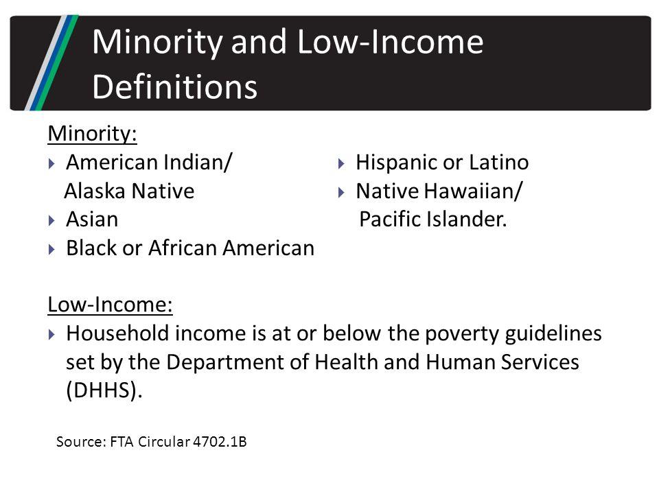 Minority:  American Indian/ Alaska Native  Asian  Black or African American  Hispanic or Latino  Native Hawaiian/ Pacific Islander.