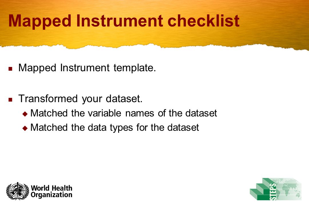 Mapped Instrument checklist Mapped Instrument template.