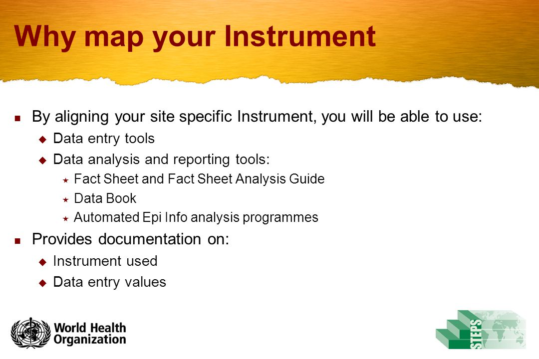 Why map your Instrument By aligning your site specific Instrument, you will be able to use:  Data entry tools  Data analysis and reporting tools:  Fact Sheet and Fact Sheet Analysis Guide  Data Book  Automated Epi Info analysis programmes Provides documentation on:  Instrument used  Data entry values