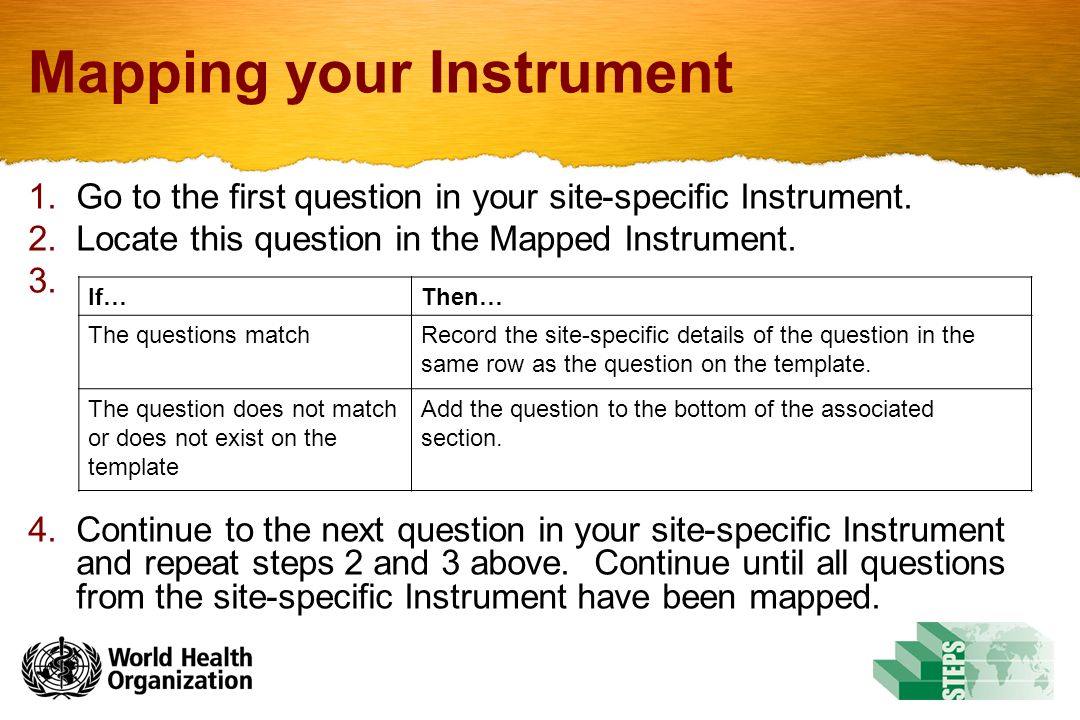 Mapping your Instrument 1.Go to the first question in your site-specific Instrument.