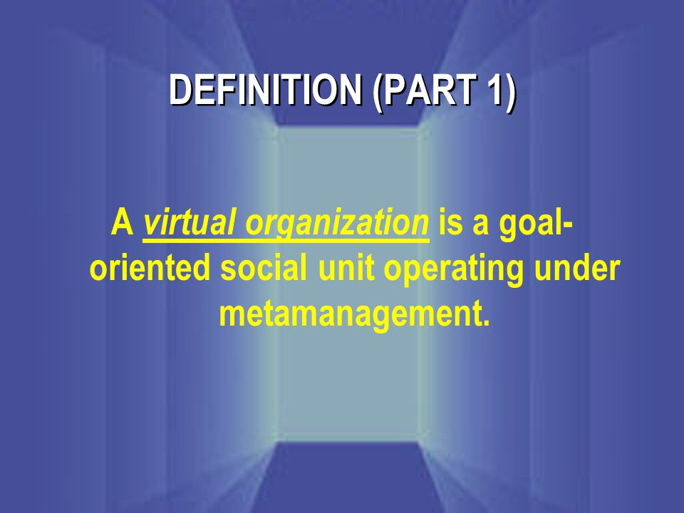 DEFINITION (PART 1) A virtual organization is a goal- oriented social unit operating under metamanagement.