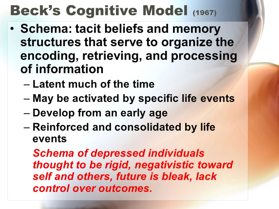 Beck's Cognitive Model (1967) Schema: tacit beliefs and memory structures that serve to organize the encoding, retrieving, and processing of informati