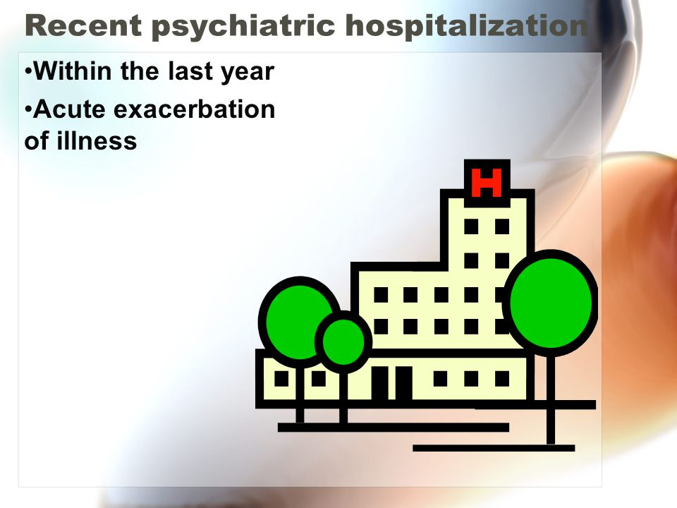 Recent psychiatric hospitalization Within the last year Acute exacerbation of illness