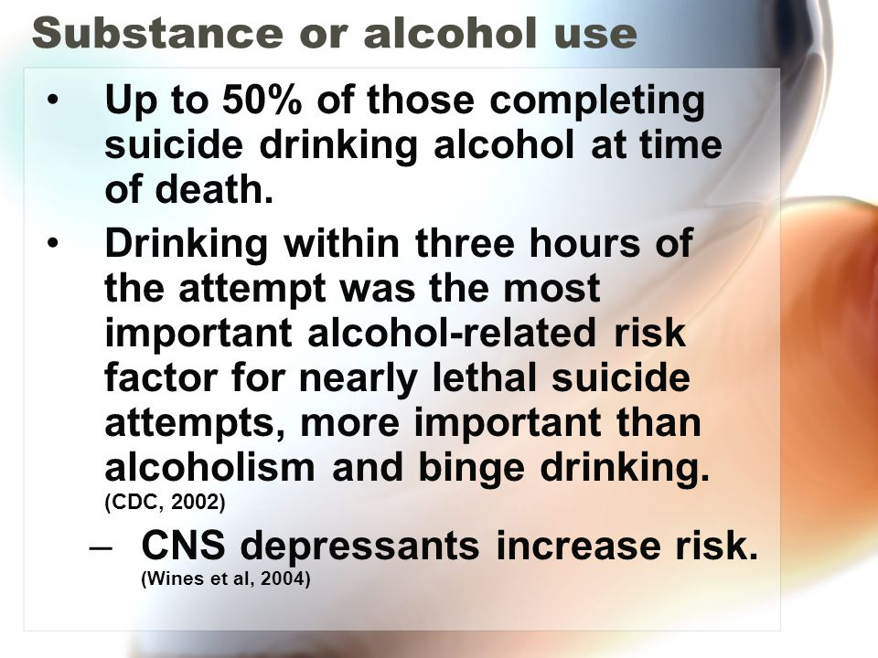 Substance or alcohol use Up to 50% of those completing suicide drinking alcohol at time of death. Drinking within three hours of the attempt was the m