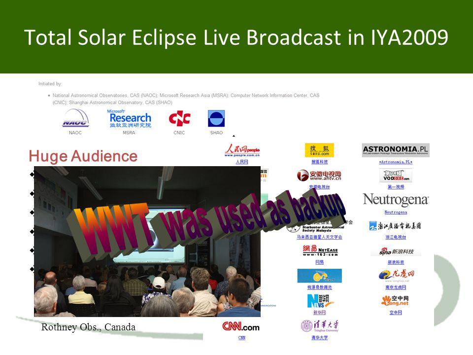 Total Solar Eclipse Live Broadcast in IYA2009 Huge Audience  30 signed clients  Network portal: 17  TV station: 10  Mobile portal: 1  IPv6 portal: 2  Website click: > 230M Rothney Obs., Canada
