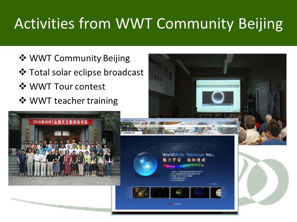 Activities from WWT Community Beijing  WWT Community Beijing  Total solar eclipse broadcast  WWT Tour contest  WWT teacher training