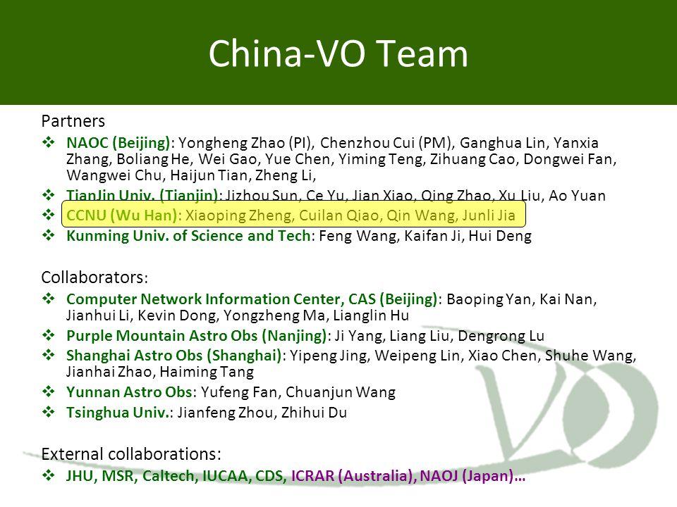 China-VO Team Partners  NAOC (Beijing): Yongheng Zhao (PI), Chenzhou Cui (PM), Ganghua Lin, Yanxia Zhang, Boliang He, Wei Gao, Yue Chen, Yiming Teng,