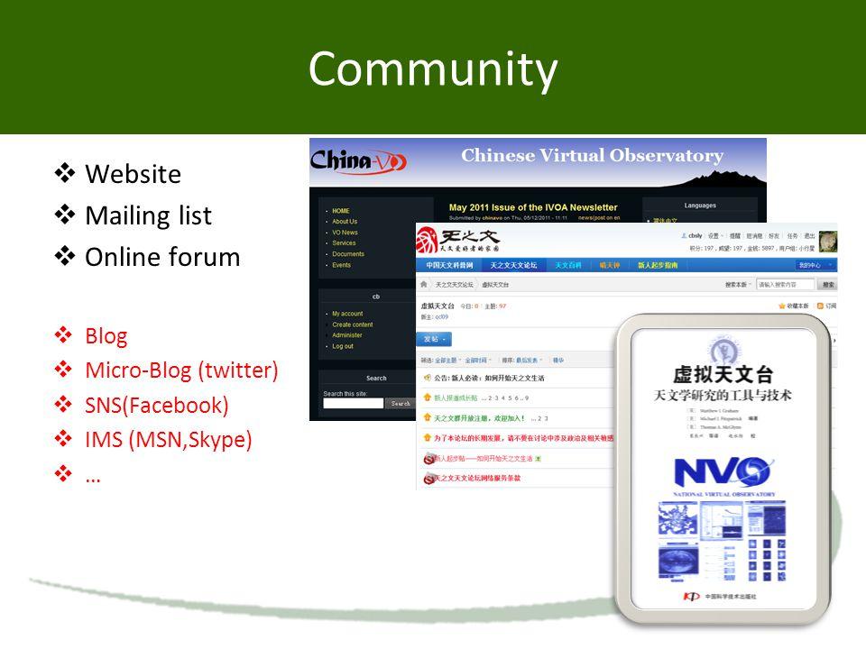Community  Website  Mailing list  Online forum  Blog  Micro-Blog (twitter)  SNS(Facebook)  IMS (MSN,Skype)  …