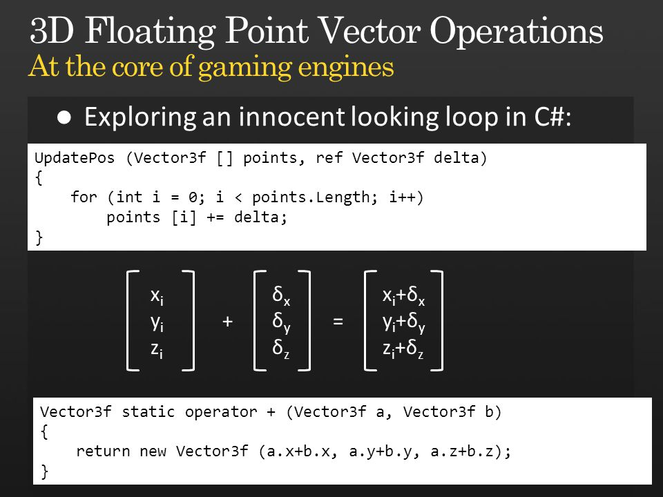 UpdatePos (Vector3f [] points, ref Vector3f delta) { for (int i = 0; i < points.Length; i++) points [i] += delta; } xiyizixiyizi + δxδyδzδxδyδz xi+δxyi+δyzi+δzxi+δxyi+δyzi+δz = Vector3f static operator + (Vector3f a, Vector3f b) { return new Vector3f (a.x+b.x, a.y+b.y, a.z+b.z); }