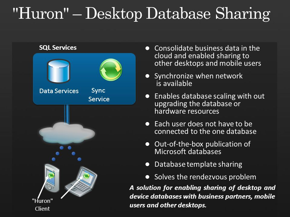 SQL Services Huron Client A solution for enabling sharing of desktop and device databases with business partners, mobile users and other desktops.