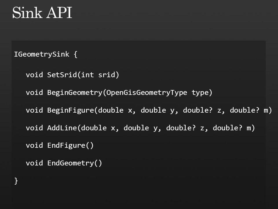 IGeometrySink { void SetSrid(int srid) void BeginGeometry(OpenGisGeometryType type) void BeginFigure(double x, double y, double.