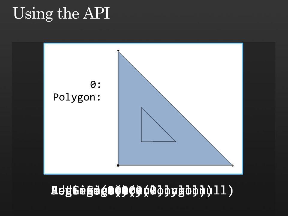 0: BeginGeometry(Polygon)BeginFigure(0,0,null,null)AddLine(0,10,null,null)AddLine(10,0,null,null)AddLine(0,0,null,null)EndFigure()BeginFigure(2,2,null,null)AddLine(2,8,null,null)AddLine(8,2,null,null)AddLine(2,2,null,null)EndFigure()EndGeometry() Polygon: SetSrid(0)
