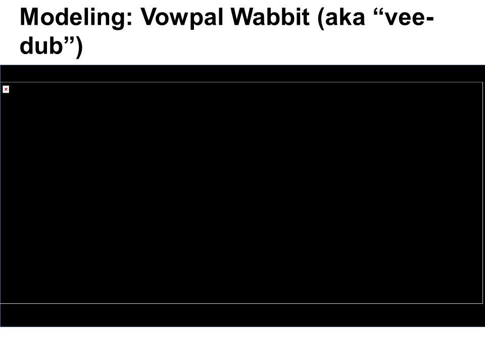 Modeling: Vowpal Wabbit (aka vee- dub )
