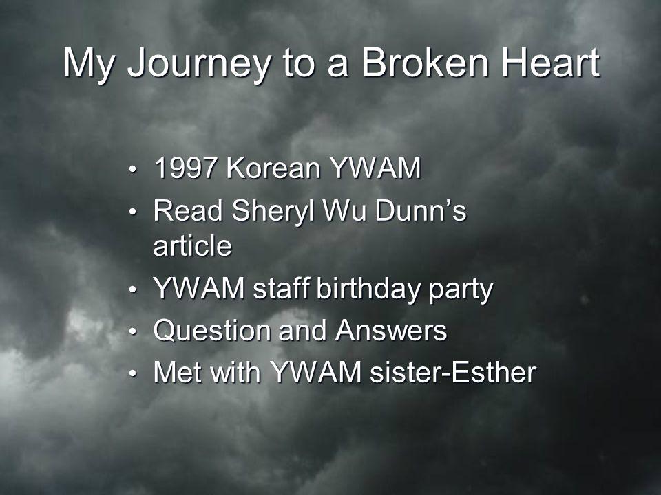 My Journey to a Broken Heart 1997 Korean YWAM 1997 Korean YWAM Read Sheryl Wu Dunn's article Read Sheryl Wu Dunn's article YWAM staff birthday party Y