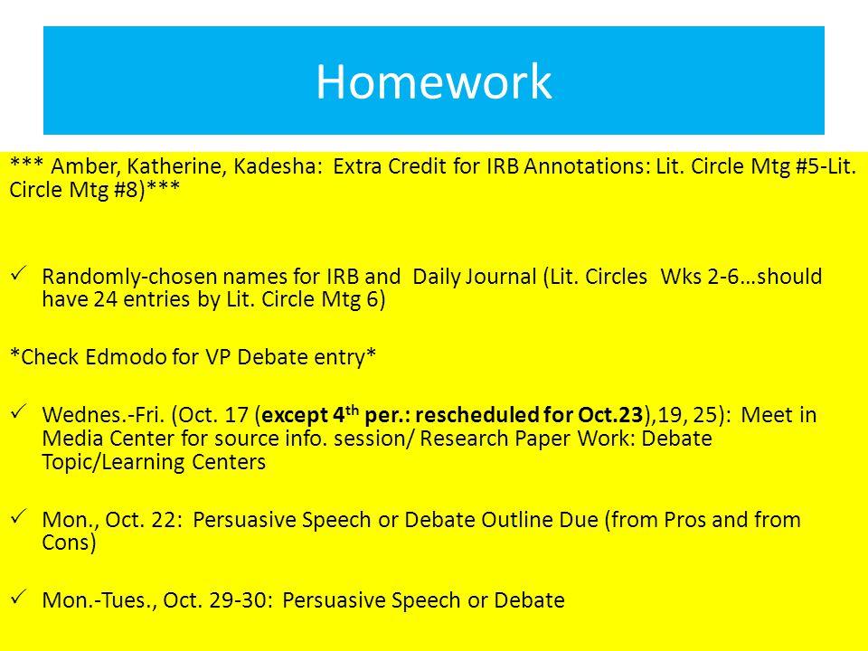Homework *** Amber, Katherine, Kadesha: Extra Credit for IRB Annotations: Lit.