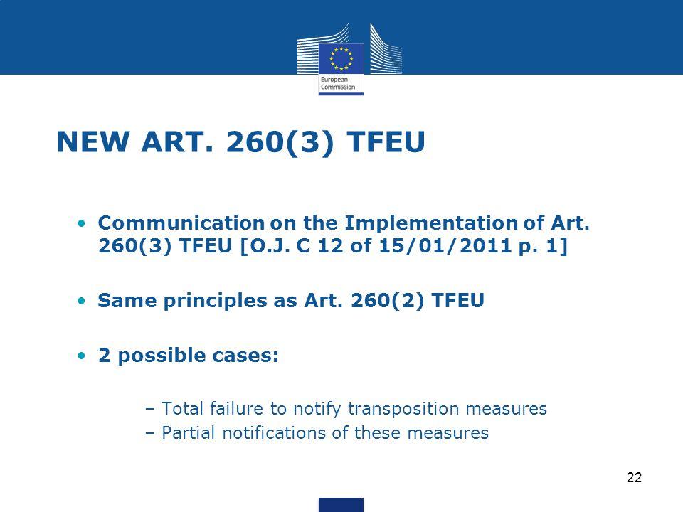 22 NEW ART. 260(3) TFEU Communication on the Implementation of Art. 260(3) TFEU [O.J. C 12 of 15/01/2011 p. 1] Same principles as Art. 260(2) TFEU 2 p