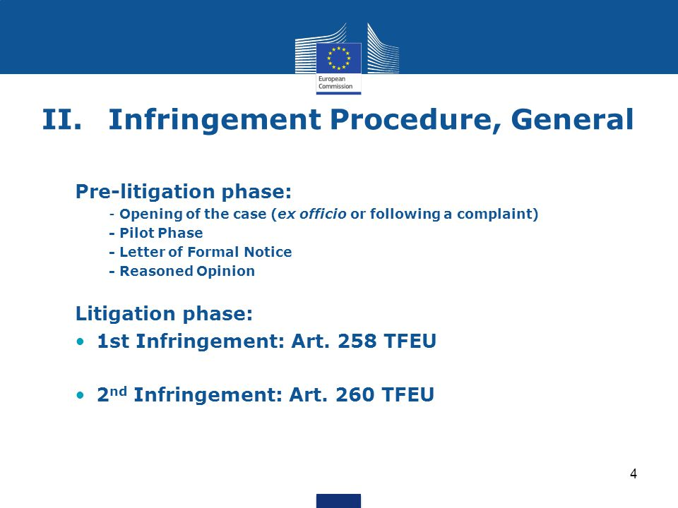 4 II.Infringement Procedure, General Pre-litigation phase: - Opening of the case (ex officio or following a complaint) - Pilot Phase - Letter of Forma