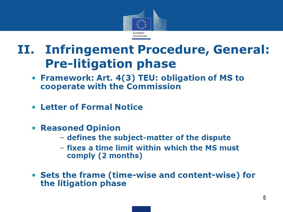 5 II.Infringement Procedure, General: Pre-litigation phase Framework: Art. 4(3) TEU: obligation of MS to cooperate with the Commission Letter of Forma