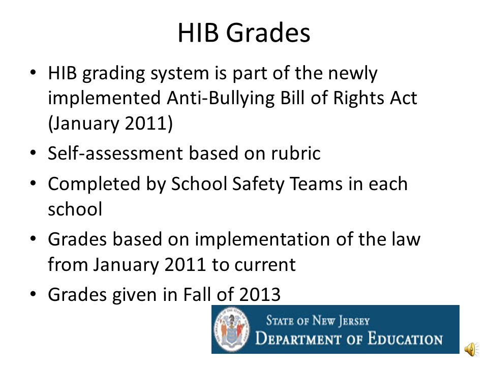 HIB Grades HIB grading system is part of the newly implemented Anti-Bullying Bill of Rights Act (January 2011) Self-assessment based on rubric Completed by School Safety Teams in each school Grades based on implementation of the law from January 2011 to current Grades given in Fall of 2013