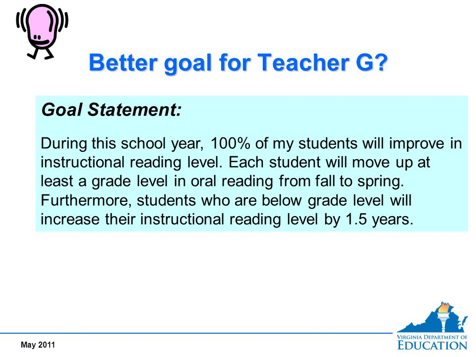 May 2011 Better goal for Teacher G? Goal Statement: During this school year, 100% of my students will improve in instructional reading level. Each stu