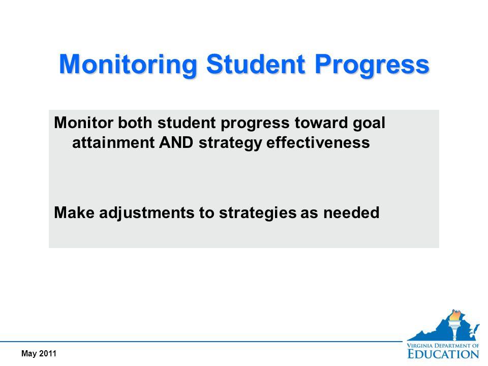 May 2011 Monitoring Student Progress Monitor both student progress toward goal attainment AND strategy effectiveness Make adjustments to strategies as