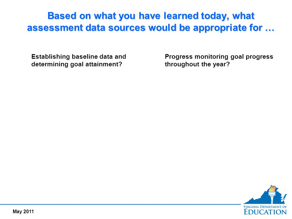 May 2011 Based on what you have learned today, what assessment data sources would be appropriate for … Establishing baseline data and determining goal
