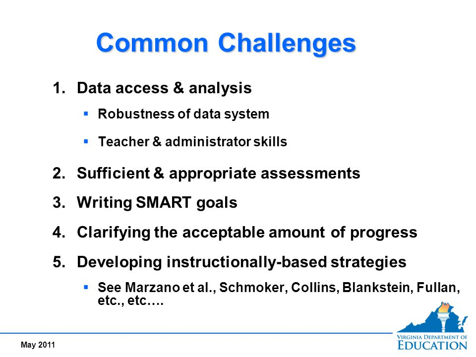 May 2011 Common Challenges 1.Data access & analysis  Robustness of data system  Teacher & administrator skills 2.Sufficient & appropriate assessment
