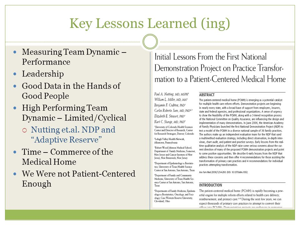 Key Lessons Learned (ing) Measuring Team Dynamic – Performance Leadership Good Data in the Hands of Good People High Performing Team Dynamic – Limited/Cyclical  Nutting et.al.