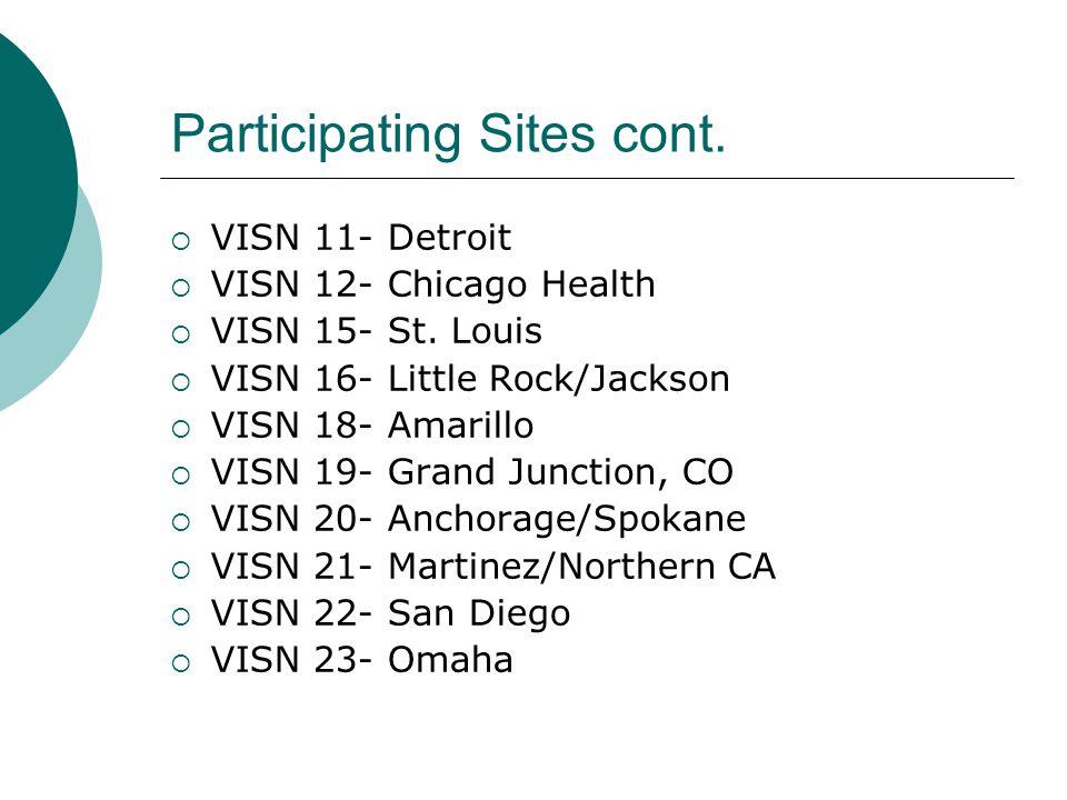 Participating Sites cont.  VISN 11- Detroit  VISN 12- Chicago Health  VISN 15- St.
