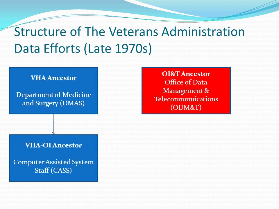 Structure of The Veterans Administration Data Efforts (Late 1970s) VHA Ancestor Department of Medicine and Surgery (DMAS) VHA-OI Ancestor Computer Assisted System Staff (CASS) OI&T Ancestor Office of Data Management & Telecommunications (ODM&T)