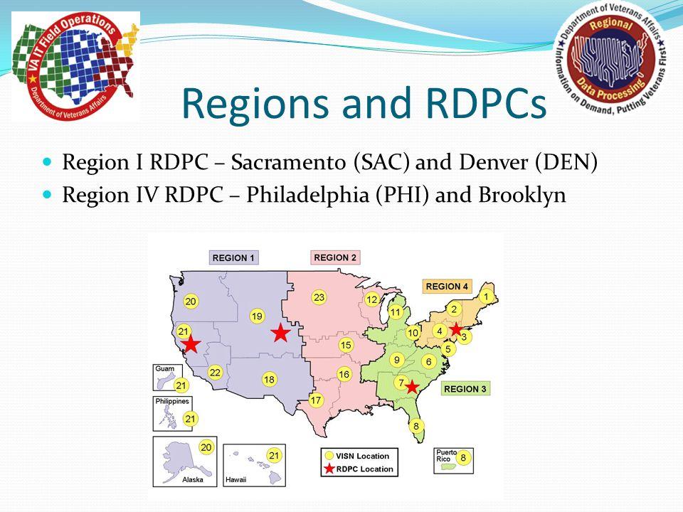 Regions and RDPCs Region I RDPC – Sacramento (SAC) and Denver (DEN) Region IV RDPC – Philadelphia (PHI) and Brooklyn