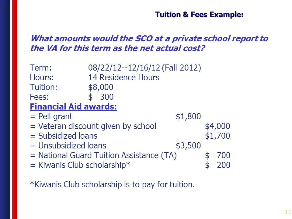 11 Tuition & Fees Example: What amounts would the SCO at a private school report to the VA for this term as the net actual cost? Term: 08/22/12--12/16