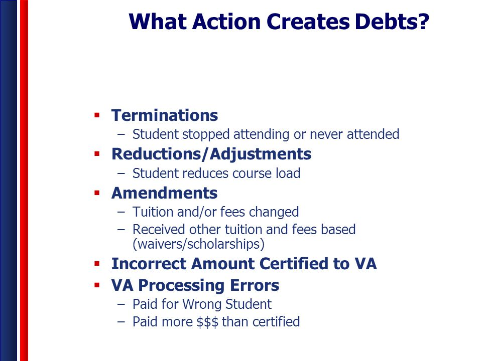 What Action Creates Debts?  Terminations –Student stopped attending or never attended  Reductions/Adjustments –Student reduces course load  Amendme