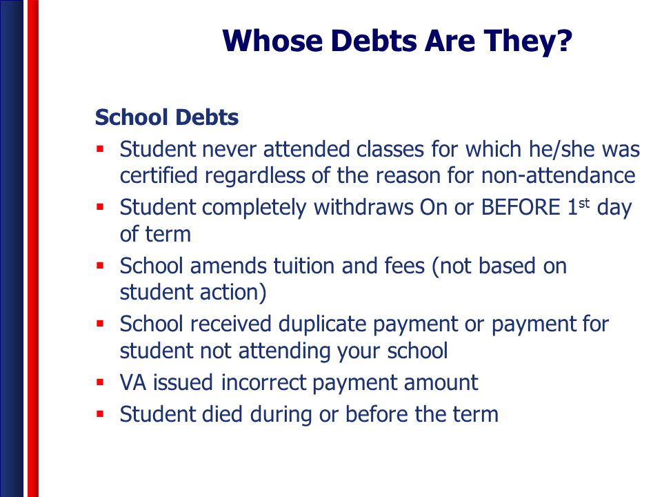 Whose Debts Are They? School Debts  Student never attended classes for which he/she was certified regardless of the reason for non-attendance  Stude
