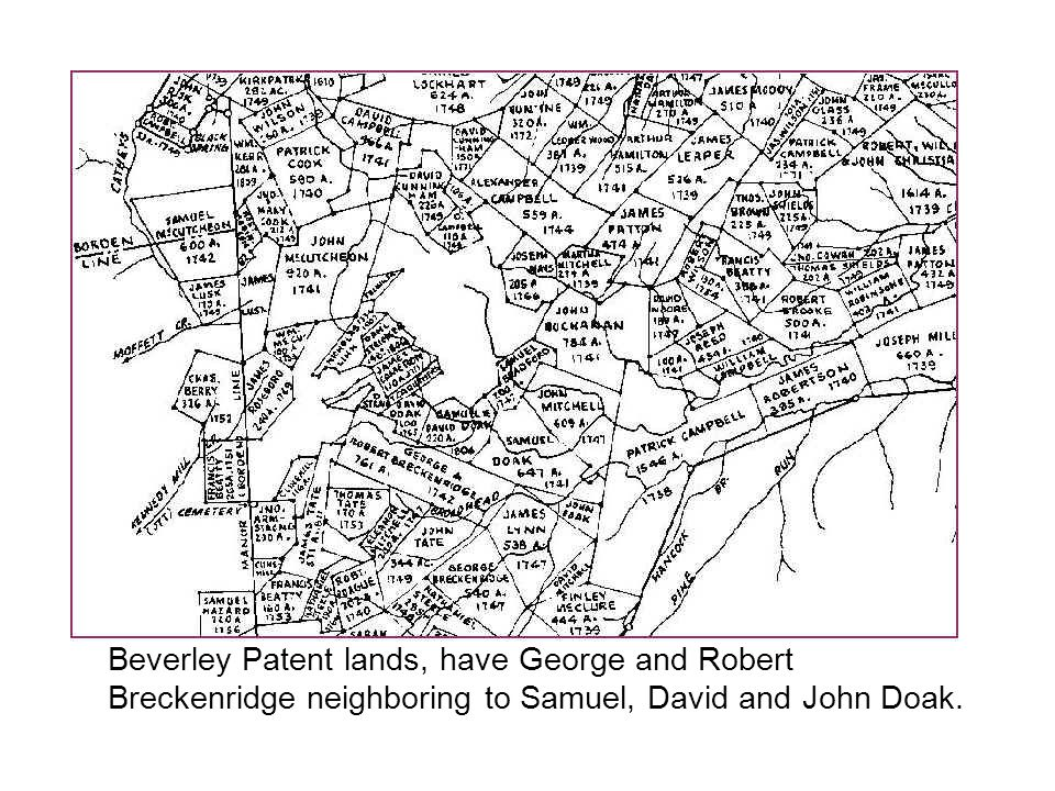 Beverley Patent lands, have George and Robert Breckenridge neighboring to Samuel, David and John Doak.