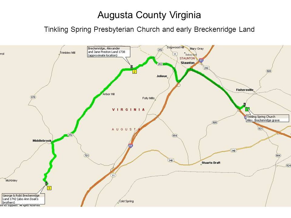 Augusta County Virginia Tinkling Spring Presbyterian Church and early Breckenridge Land