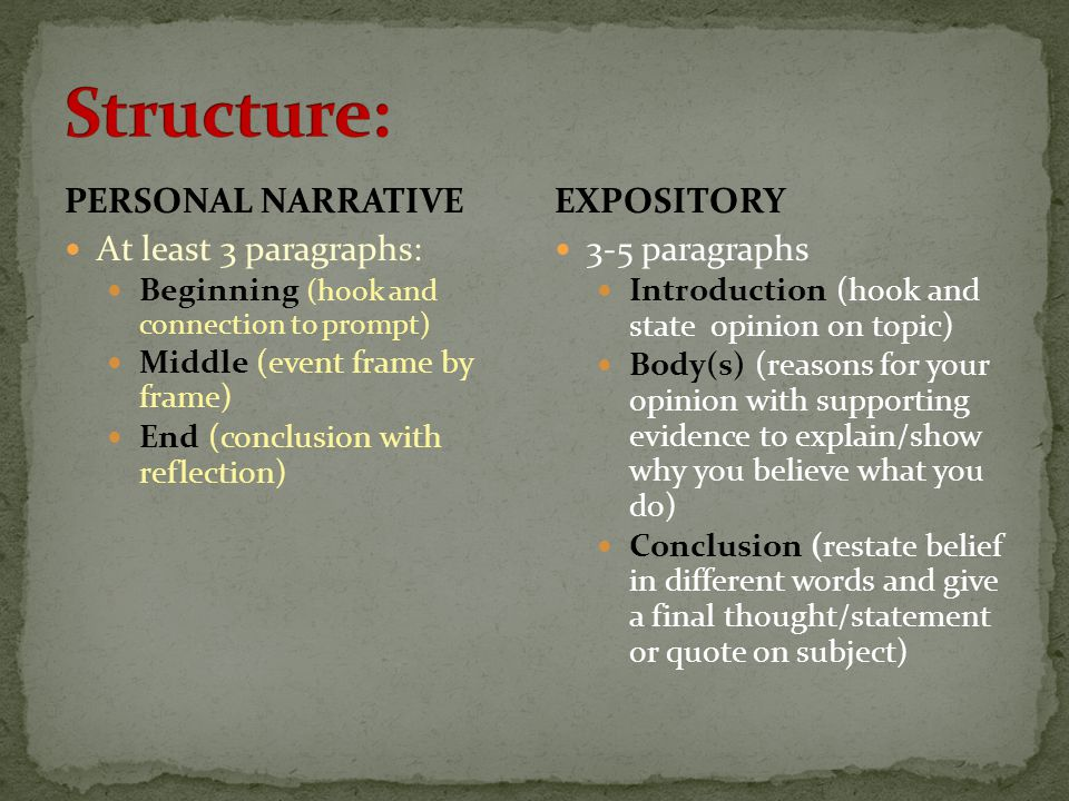 PERSONAL NARRATIVE At least 3 paragraphs: Beginning (hook and connection to prompt) Middle (event frame by frame) End (conclusion with reflection) EXP