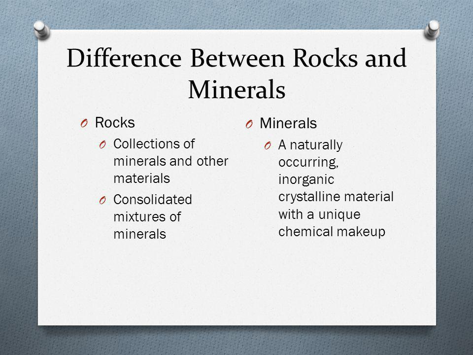 Difference Between Rocks and Minerals O Rocks O Collections of minerals and other materials O Consolidated mixtures of minerals O Minerals O A naturally occurring, inorganic crystalline material with a unique chemical makeup